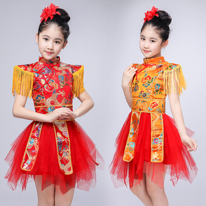 Chinese dragon drummer performance costumes for boy girls Children new year Day Spring Festival Performance costume Chinese knot Dance drum costume opening dance water drum Costume