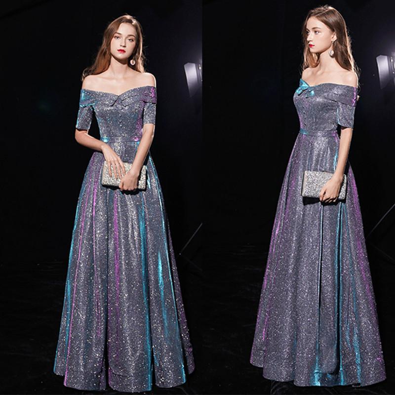年会晚礼服女2019新款一字肩显瘦长款高贵春季聚宴会主持人连衣裙