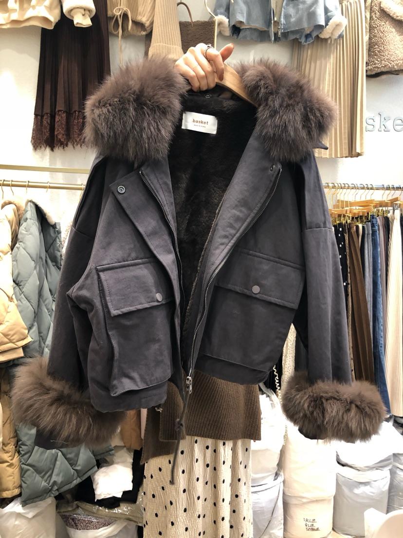 韩国东大门代购加绒加厚棉服牛仔女2019年冬新款上衣袖口毛领夹克