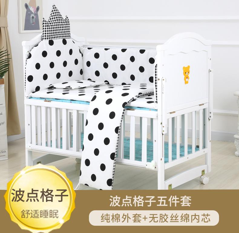 婴儿床拼接大床实木宝宝欧式白色多功能摇篮睡新生儿童床可移动详细照片
