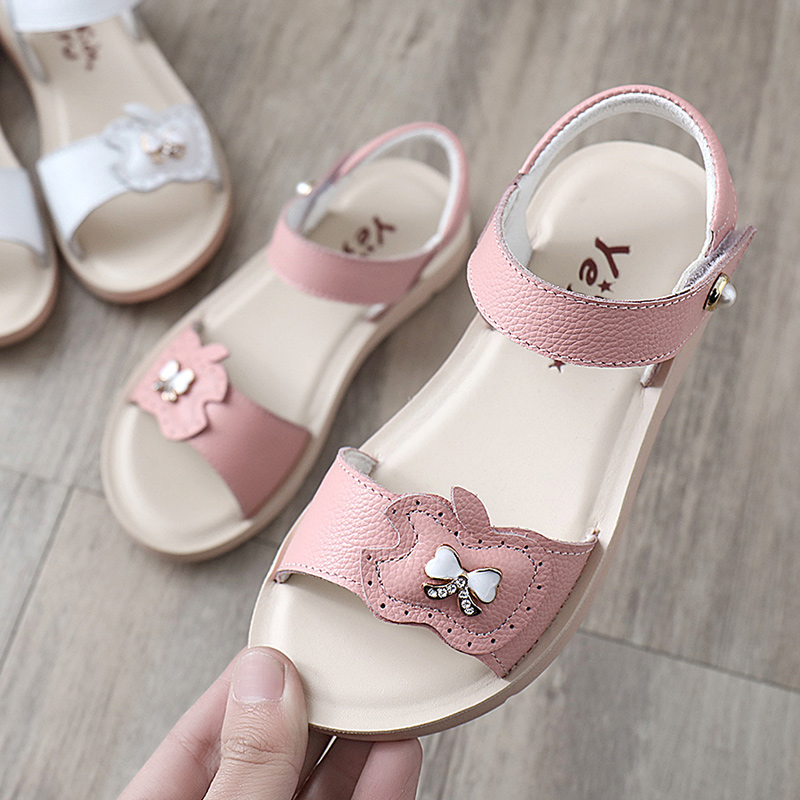 cef6fe2a09059 Girls sandals 2019 New children s leather children s shoes summer fashion  Korean version of the Big Princess soft bottom girl