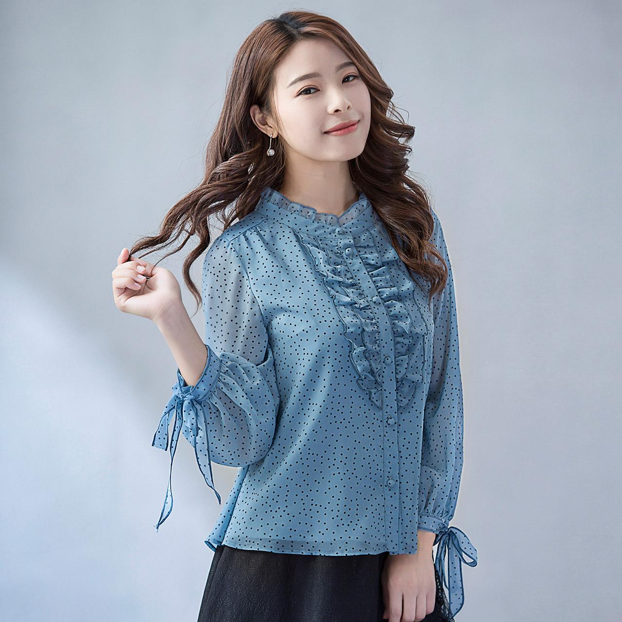 Pháo hoa nóng 尓 SD áo sơ mi nữ 2018 mùa thu mới của phụ nữ dài tay ren cardigan áo sơ mi lỏng lẻo 蒹 葭 远