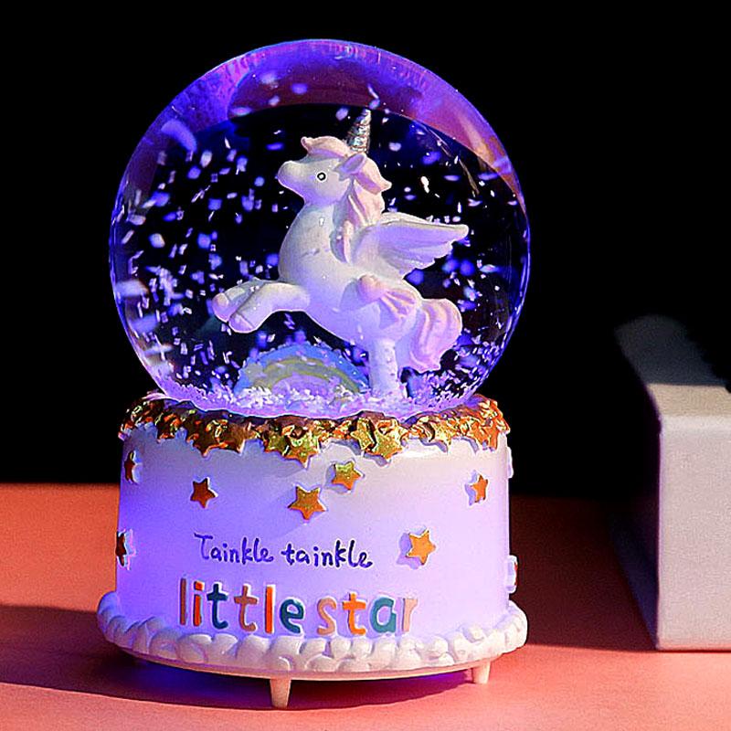 水晶球音乐盒八音盒带雪花可发光天空之城生日礼物女生儿童女孩