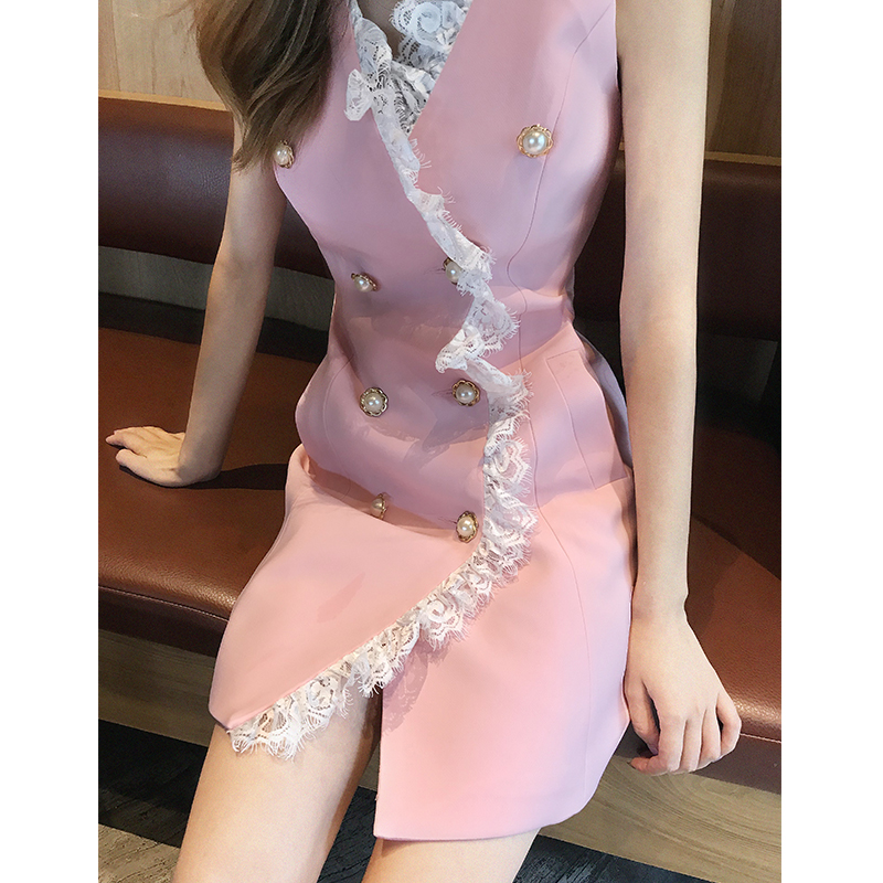 Spring/Summer 2019 New Temperament Goddess Fan Famous Small Fragrance Chic Double-sleeve buckled vest dress woman