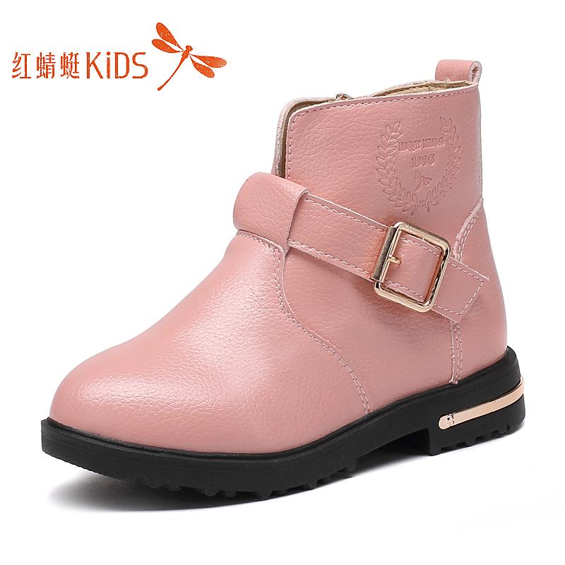 【红蜻蜓童鞋】女童加棉马丁靴
