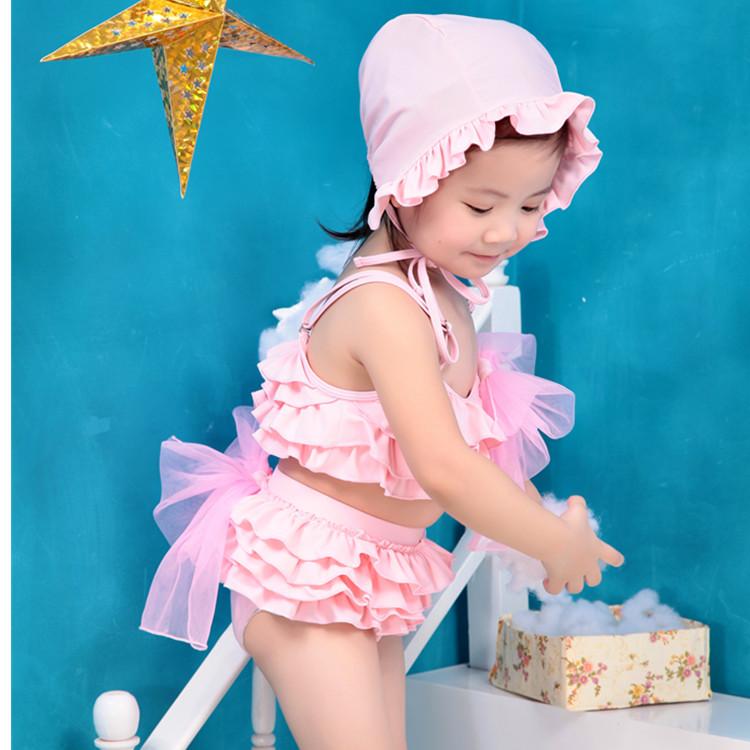 女童泳衣分体裙式宝宝公主小中大童韩国可爱比基尼泳装儿童游泳衣