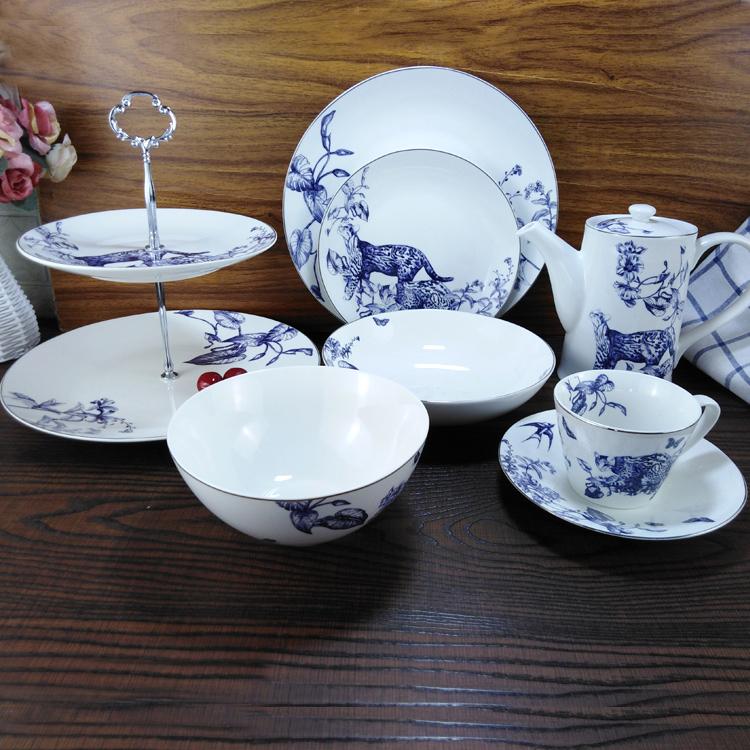套装系列套装盘子碗云豹创意菜盘子圆形v套装杯碟欧式家用陶瓷餐具