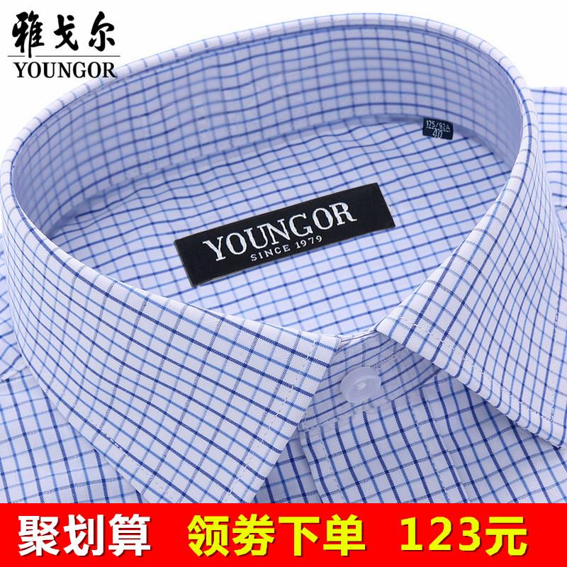 秋季雅戈尔长袖衬衫男商务休闲中年大码纯棉免烫格子正装衬衣条纹