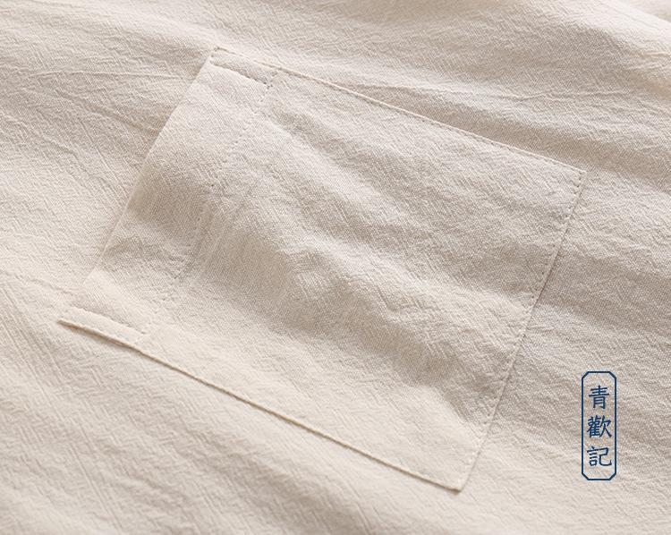 中國風棉麻短袖t恤男士夏季寬松休閒圓領上衣大碼純色透氣汗衫薄復古原創