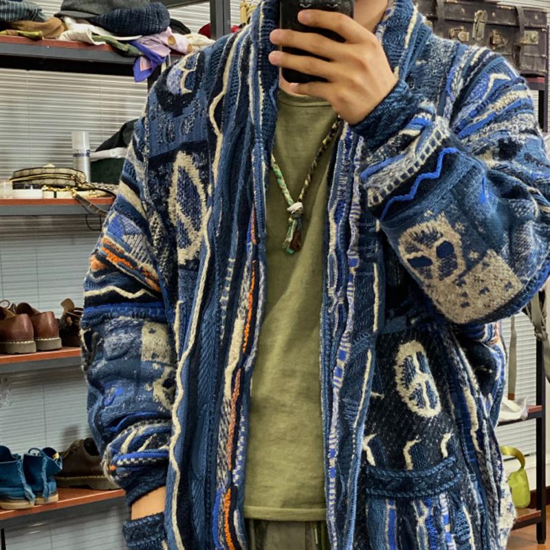 Kapital Hirata chống chiến tranh dệt kim retro cổ điển khâu áo len dài giữa áo len công nghiệp nặng - Đan Cardigan