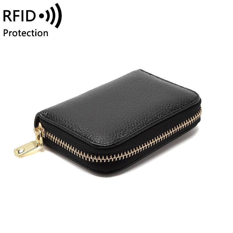 Lớp cơ quan giữ thẻ lớp đầu tiên RFID chống trộm nữ chủ thẻ nam chủ thẻ kinh doanh đa chức năng dây kéo ví nhỏ - Ví / chủ thẻ