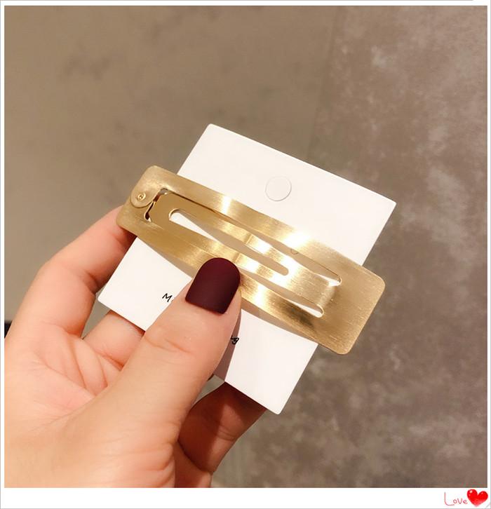 Korean simple metal hairpin hollow square duckbill clip NHOF269537