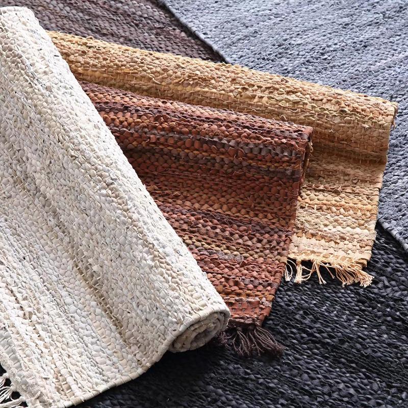 印度手工牛皮条编织地毯床边门口装饰民宿小地毯北欧简约牛皮垫子