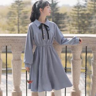 春秋季裙子女連衣裙長袖法式