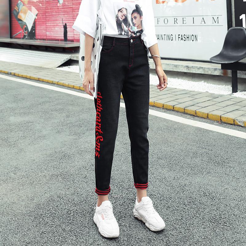 新款韩版高腰九分牛仔老爹裤