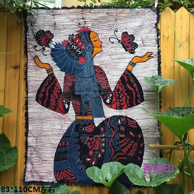 Yunnan ethnic style woman wall painting features wax dye butterfly female  batik rough cotton decorative wall