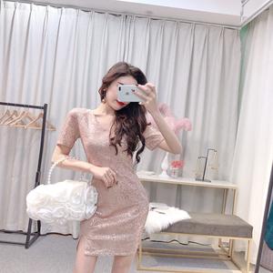 FS13256# 时尚气质V领短袖亮片性感修身开叉连衣裙