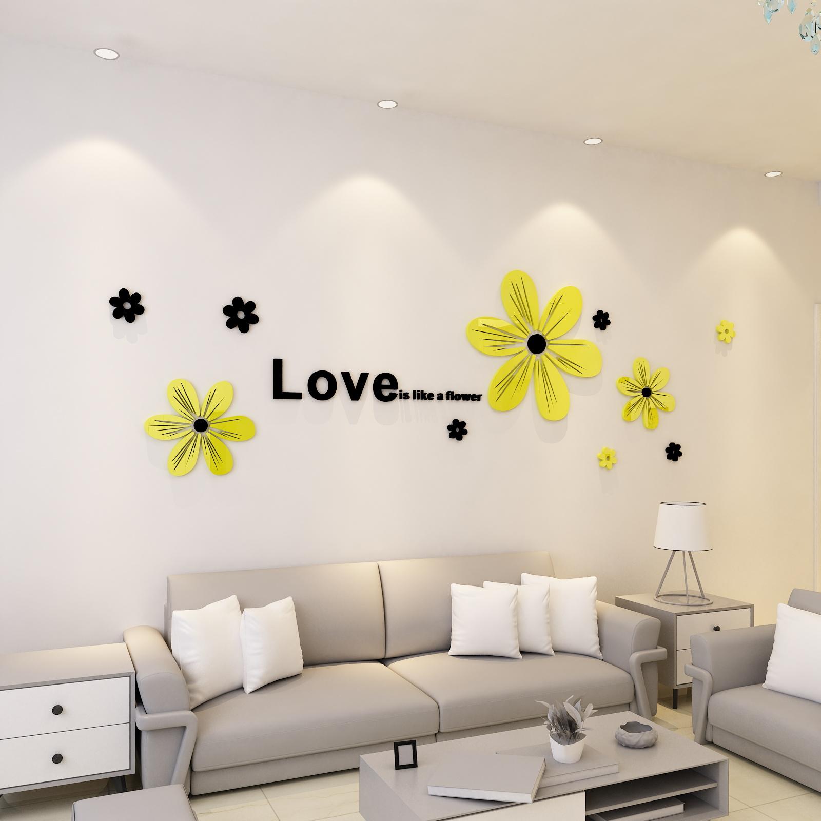 客厅3d亚克力电视墙贴立体夏花卧室贴画沙发餐厅墙装饰创意墙背景