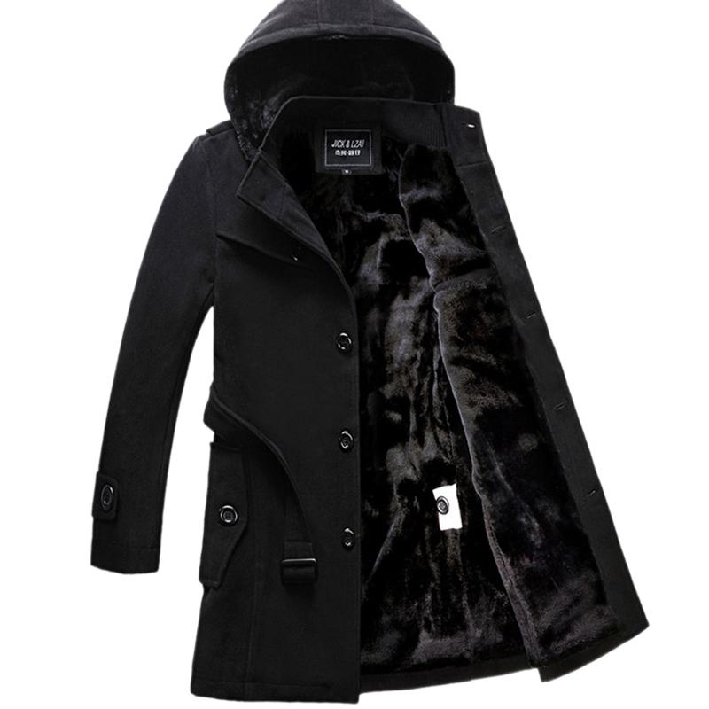 冬季男士风衣韩版修身中长款帅气妮子外套加绒加厚青年毛呢大衣男