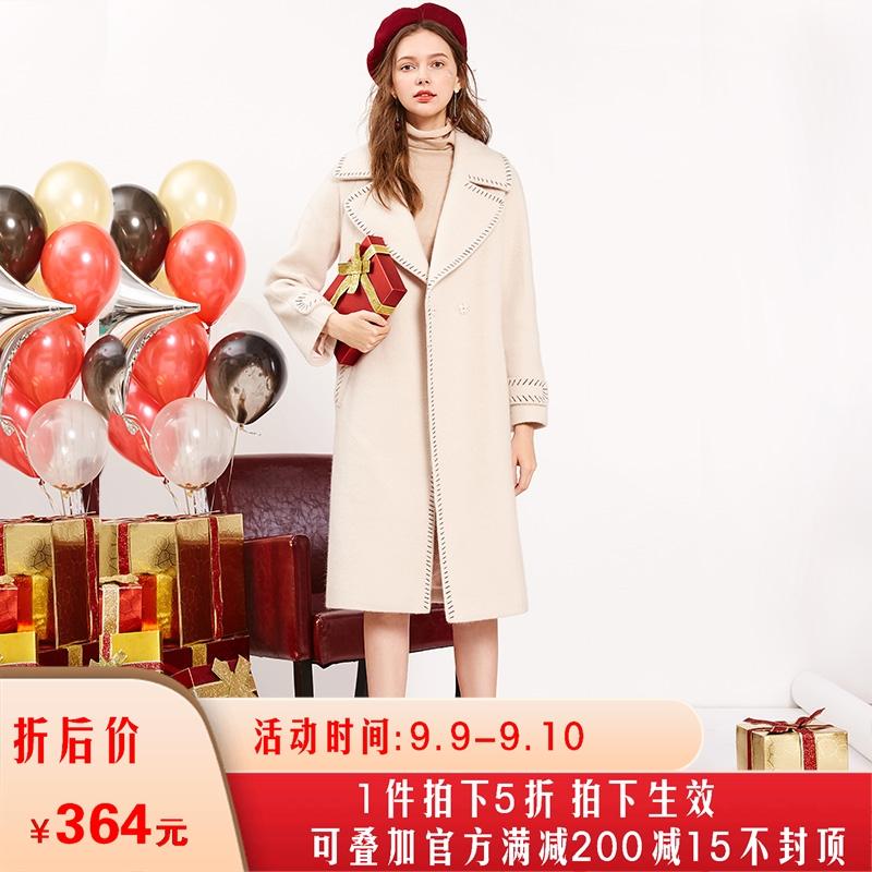 三彩2018女冬装新款西装大翻领长袖加厚宽松中长款呢大衣毛呢外套
