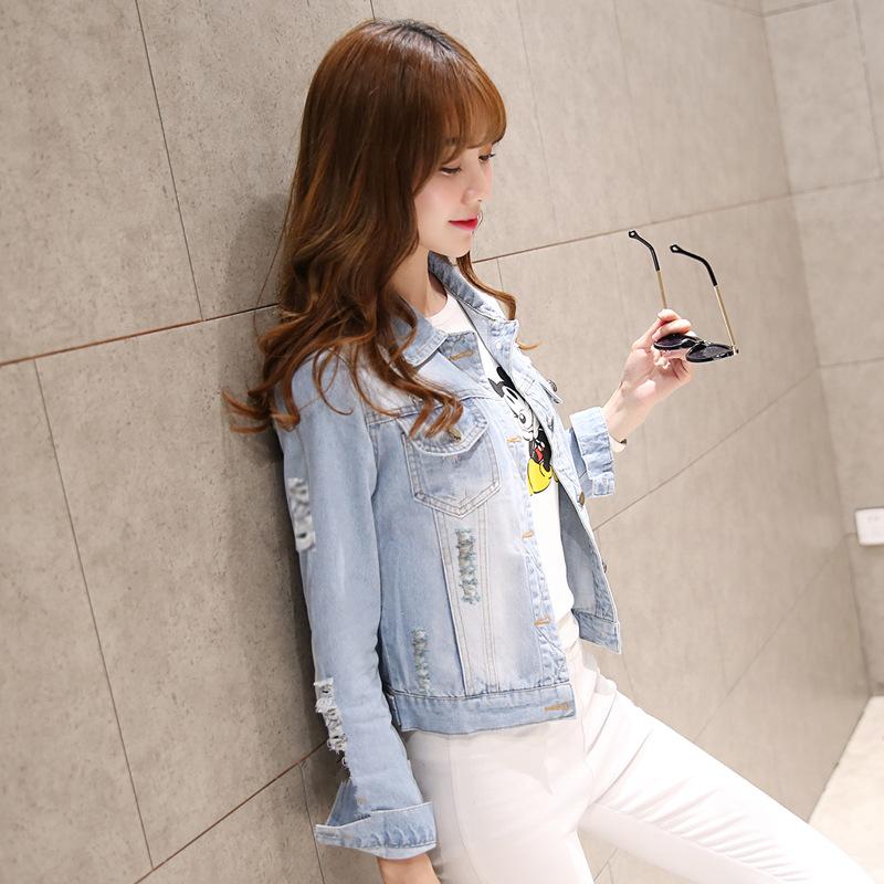 2018春装韩版 修身牛仔外套女短款  牛仔衣牛仔褂披肩潮外套