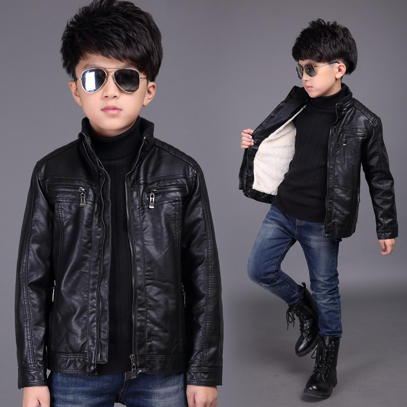 61d75cd9e4bc Children s clothing fall and winter children s clothing leather jacket 2017  new 8 children thickening jacket 9 large children 10 boys 12 years old