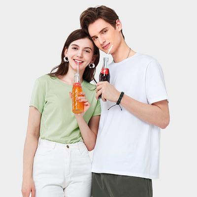 夏季纯棉短袖T恤男女款情侣纯色打底衫圆领体恤