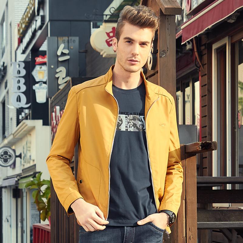 骆驼男装夹克衫男韩版潮流春秋商务休闲外衣中年爸爸短款立领外套