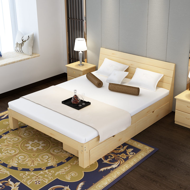 Solid Wood Bed 1 8 M Pine Double 5 Economy Modern Simple 2 Single Frame
