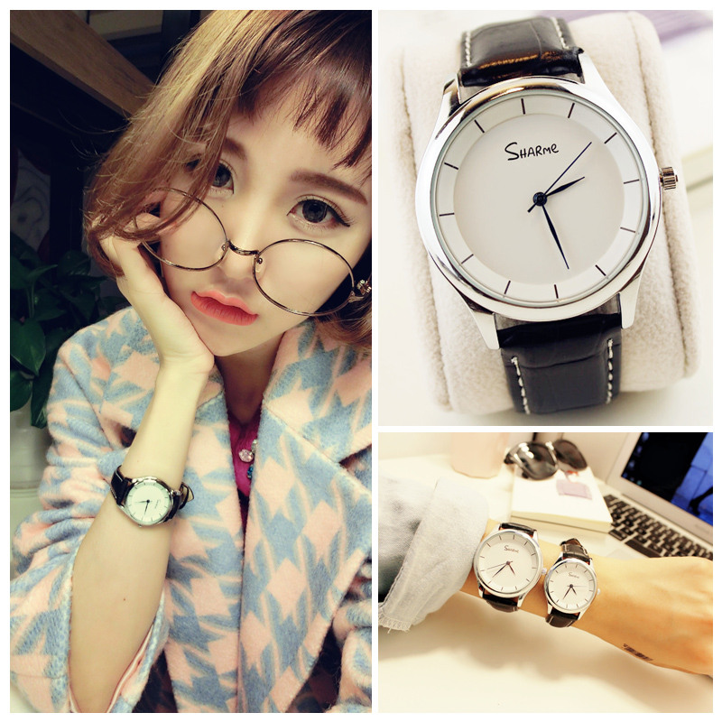 Watch ladies students Korean version of the simple casual atmosphere trend men ulzzang male form female couple of lovers