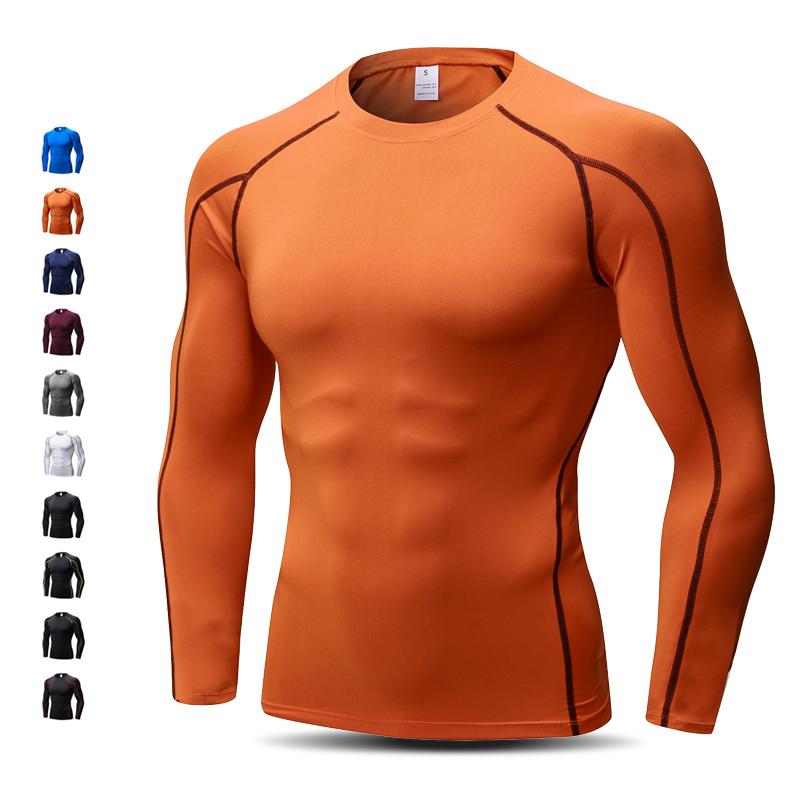 PRO训练紧身衣长袖上衣健身服跑步t恤速干衣高弹透气排汗运动男士