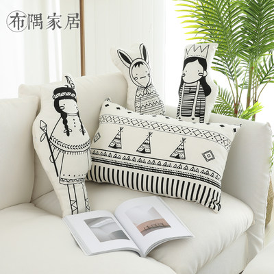 Nordic Japanese Sofa Cartoon Character Pillow Waist Cushion Children's Heart Bed Small Pillow Terminal Car with Stars Sleep
