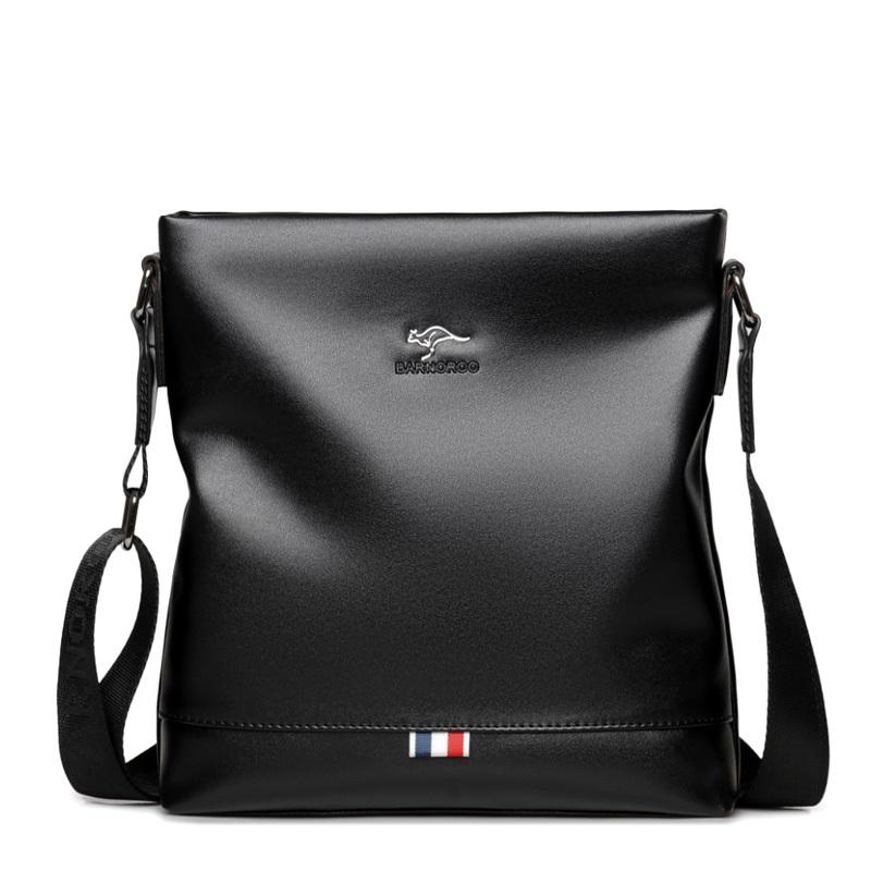 袋鼠男包包单肩包斜挎包软皮牛皮时尚韩版男士背包竖款挂包潮皮包