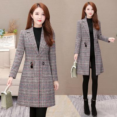 西装格子外套秋装大衣中长款西服女式上衣气质修身百搭风衣新
