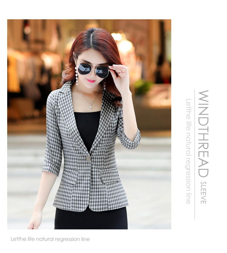 Bảy điểm tay áo kẻ sọc nhỏ phù hợp với nữ áo ngắn 2018 mùa thu mới Hàn Quốc phiên bản của tự trồng giản dị phù hợp với áo khoác