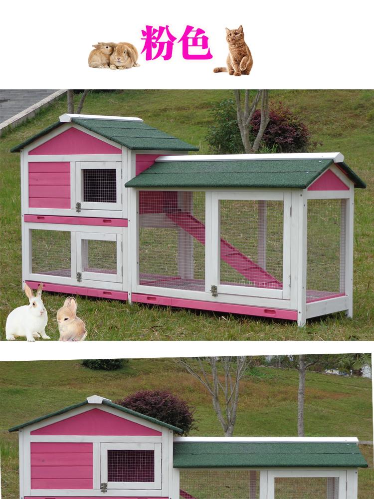 菠蘿特大號兔籠子防噴尿豪華雙層抽屜式兔窩寵物籠貓屋鴿子籠別墅【加托盤】