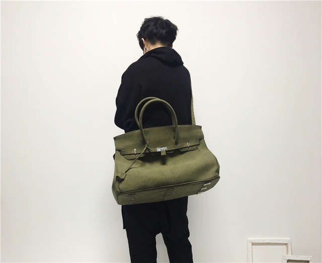 FTMSTUDIO designer army green canvas tote bag large-capacity non-readymade men and women the same paragraph