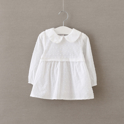 Girls wear solid color dress girls doll collar white shirt double-sleeved cotton long-sleeved shirt spring and autumn skirts