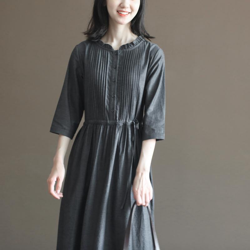 三五年Q508秋装新款复古文艺棉麻宽松大码森系打底连衣裙中长裙女