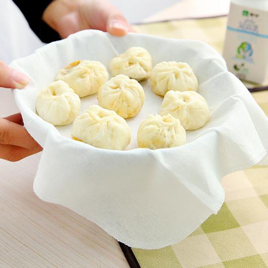Чистый хлопок Пароварка белый Бамбуковая пароварка Gingham без палочки на пару риса пельмени пакет Товары для кухни Zibu