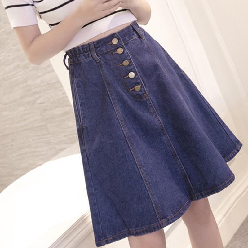 新款韩版前开叉高腰中长款牛仔半身裙百搭纯色学生风A字裙女