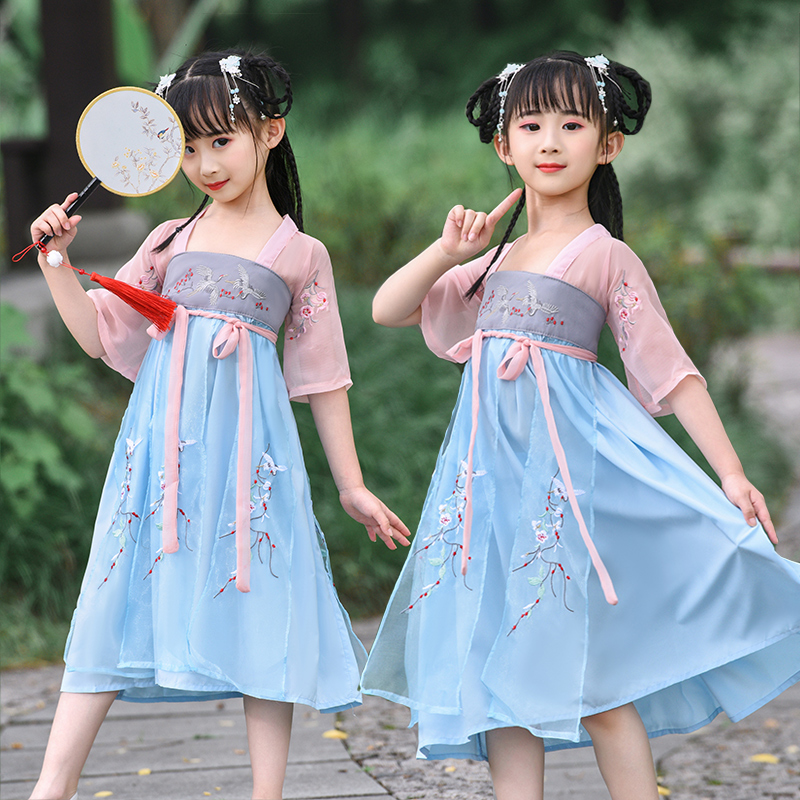 Han dress girl dress fairy flowing super fairy chest children dress summer dress little girl Chinese style ancient dress.