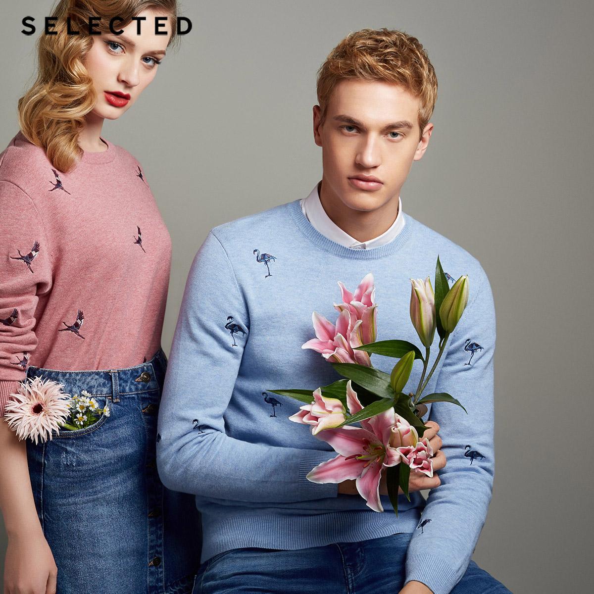 Собирать SELECTED мысль сорняки мораль хлопок тенденция вышитый круглый вырез случайный мужчина свитер свитер C|418124526