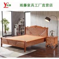 Индонезийская кровать ротанга 1.8M настоящая ротанг кровать ротанга кровать двойной один Кровать из дерева с ромбовидной кроватью 1,5 м. Ротанг-кровать 3022