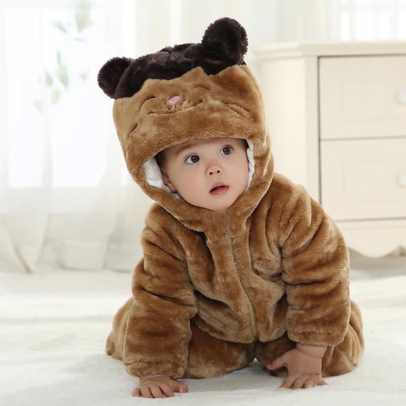 冬天婴儿连体衣服冬装宝宝龙猫哈衣新生儿加厚外出服爬服冬季包脚