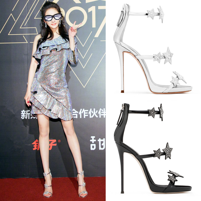 6794e3e86ee Star with the same star Diamond high-heeled sandals silver word with  waterproof platform catwalk high heels fine with women s shoes summer