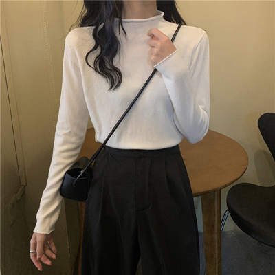 taobao agent White bottoming shirt women's spring and autumn thin section 2021 new wild half-high collar inner chic early autumn top knit sweater