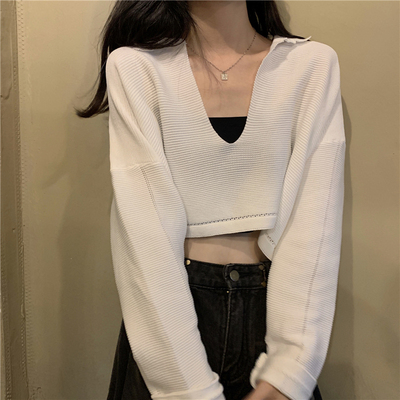 taobao agent V-neck sweater women spring and autumn 2021 new style Korean gentle little white sweater short bm wind top