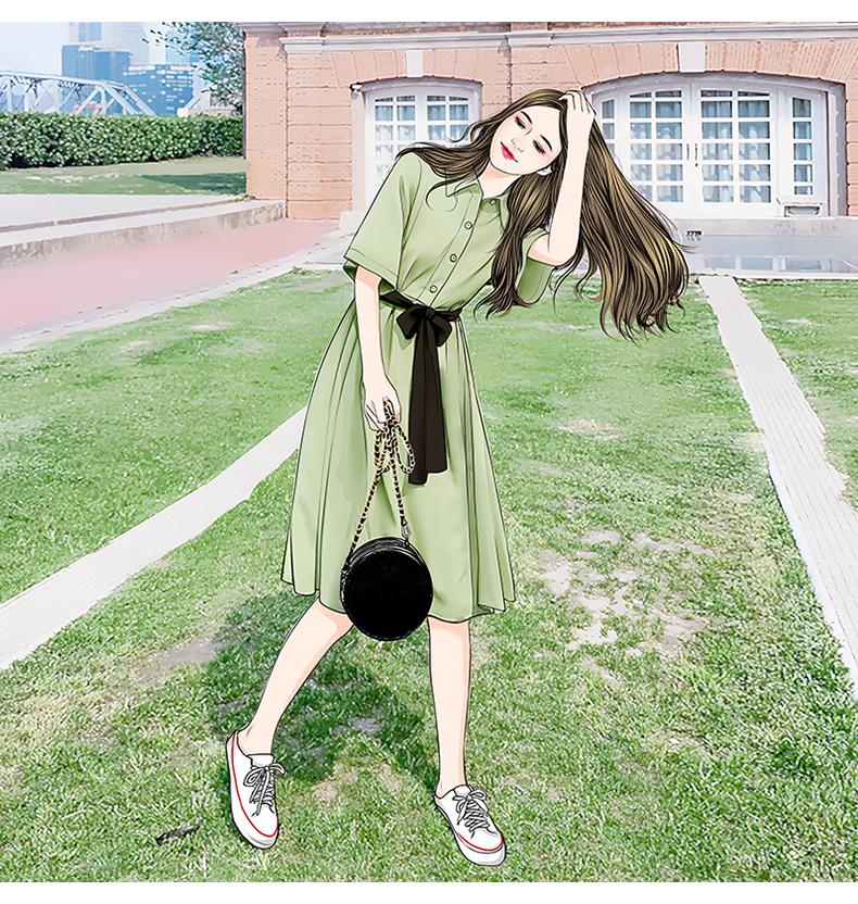 牛油果绿连衣裙2019新款夏抹茶绿小清新森女超仙系带法式polo裙子