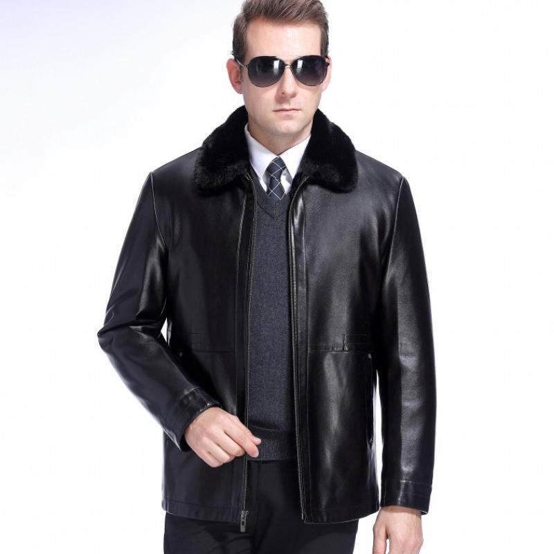 新款外套一体中年皮衣水貂绒男士加绒加厚v外套皮毛皮夹克冬季绵羊